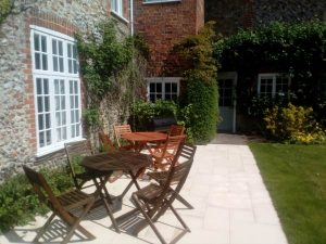 The Patio area in the garden of Friary Farmhouse